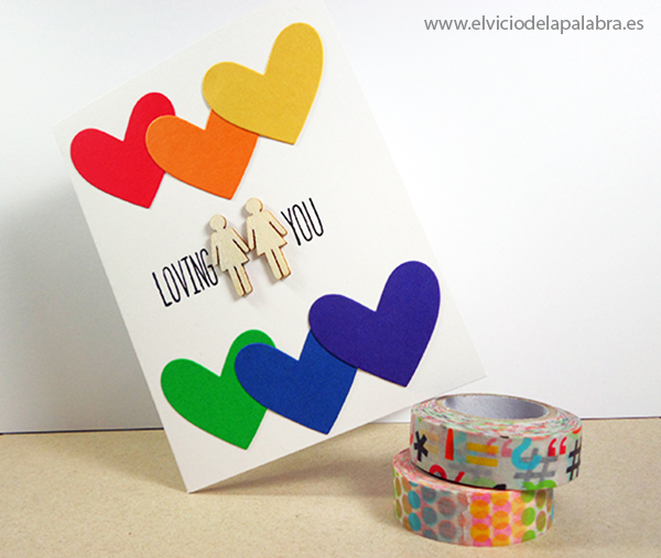 Tarjetas hechas a mano dedicadas al amor con decoración de madera de Studio Calico. Handmade cards about love with rainbow colours and wood embellishments from Studio Calico