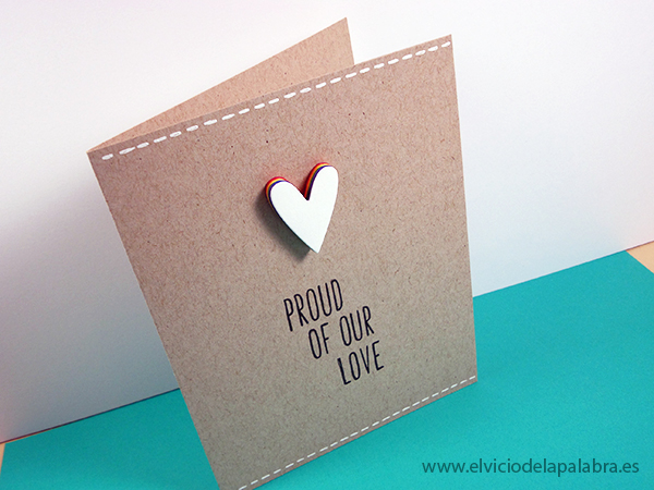 A card using paper layers of rainbow colours.