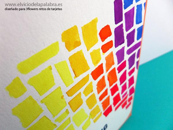 Tarjeta con acuarela para 3flowers retos de tarjetas. A watercolor card for 3flowers retos de tarjetas.