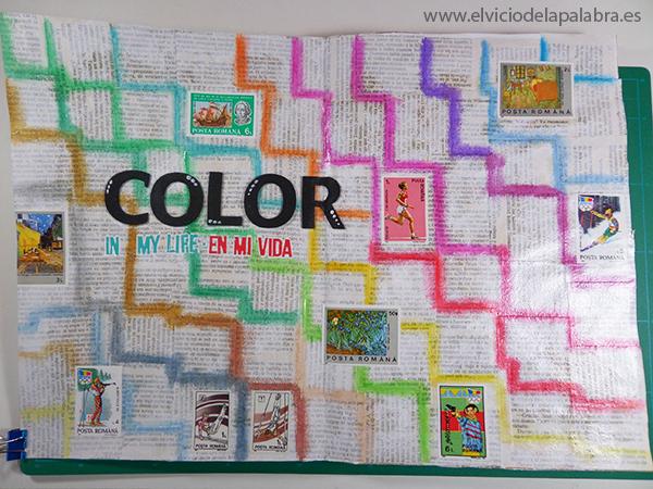 Página de art journal dedicada al color con los rotuladores PITT de Faber-Castell