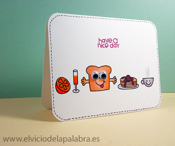 Tarjeta realizada con un set de sellos de Paper Smooches coloreada con Spectrum Noir