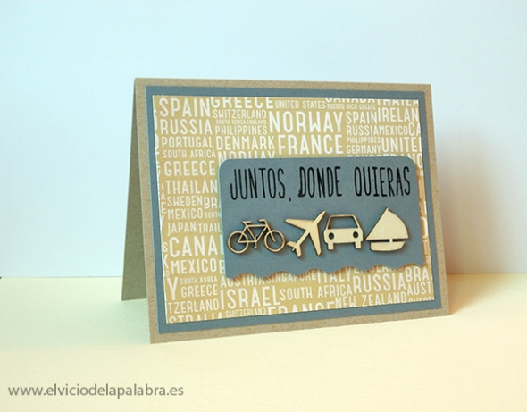 Tarjeta elaborada con figuras de madera de Studio Calico. Card made using Studio Calico wooden embellishments.