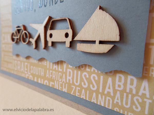 Tarjeta elaborada con figuras de madera de Studio Calico. Card made using Studio Calico wooden embellishments.