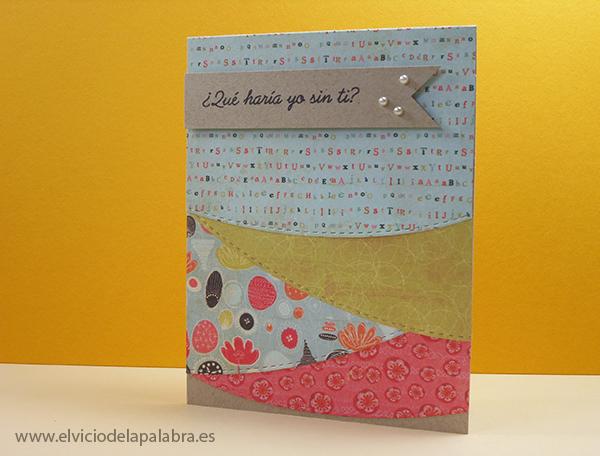 Tarjeta elaborada con papel estampado y con los dies de La Pareja Creativa