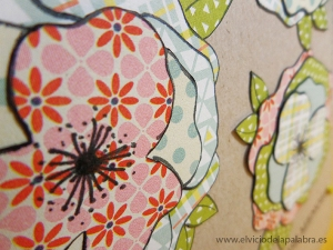 Tarjeta elaborada para La Pareja Creativa con motivos florales