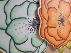 Tarjeta elaborada para La Pareja Creativa con flores coloreadas