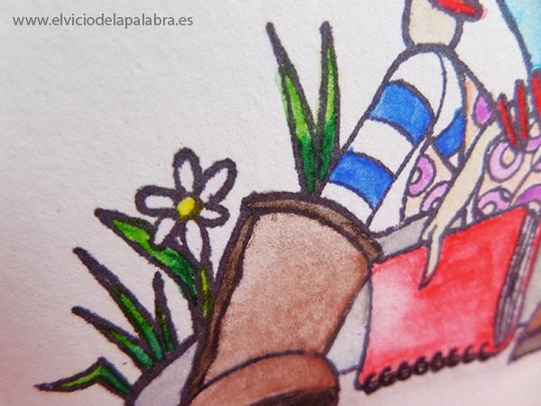 Tarjeta creativa elaborada con pintura acuarelable de Faber Castell