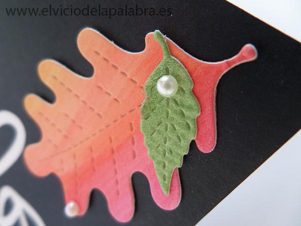 Tarjeta creativa elaborada con hojas de acuarela recortadas con die de Lawn Fawn