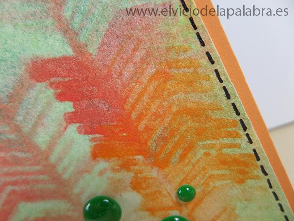 Tarjeta creativa realizada con acuarela y plantillas