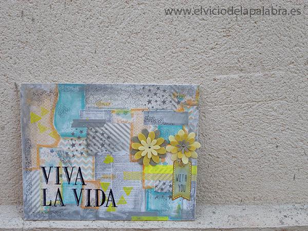 Lienzo de art journal con papel, gel medium, pintura y sellos