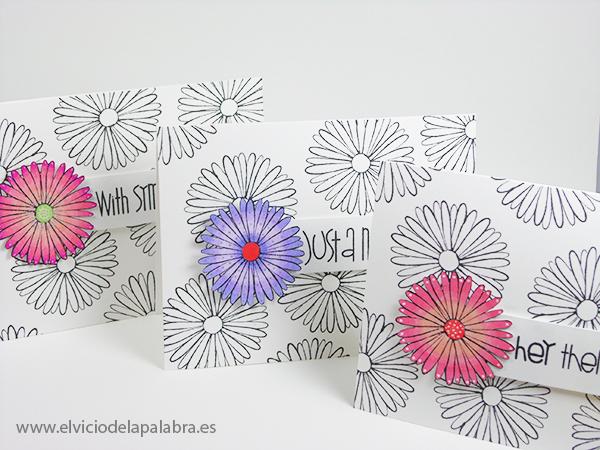 Tres tarjetas creativas coloreadas con rotuladores Spectrum Noir