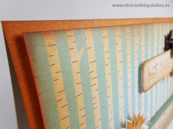 Tarjeta creativa elaborada con pattern paper, Distress Inks y el erizo de La Pareja Creativa