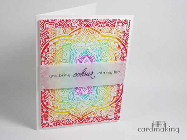 Tarjeta creativa elaborada con embossing, dies de Simon Says Stamp y sello de Hero Arts