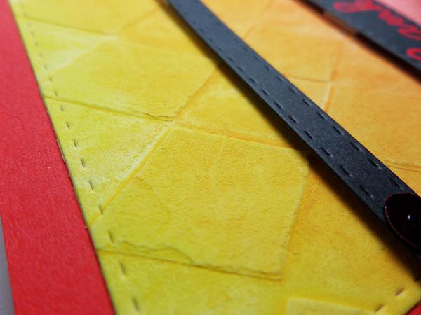 Tarjeta creativa realizada con embossing paste y acuarela