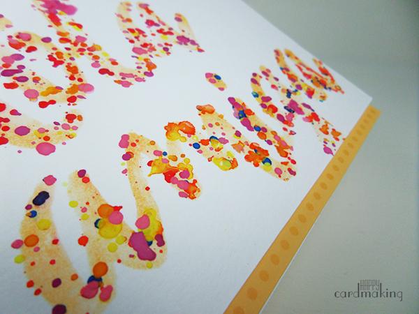 Tarjeta elaborada con acuarela y stencil para el reto de abril de La Pareja Creativa
