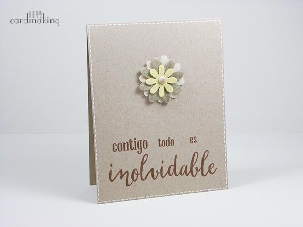 Tarjetas elaboradas con flores de fieltro y tela