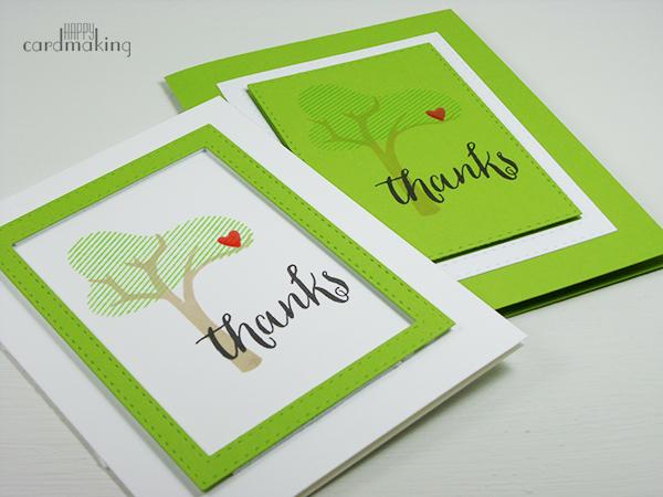 Tarjeta creativa gracias con árbol y pattern paper