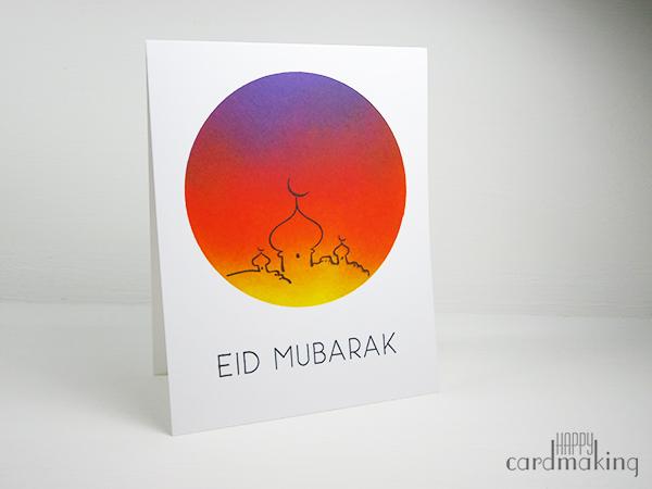 Tarjeta creativa realizada con tintas distress sobre el ramadán