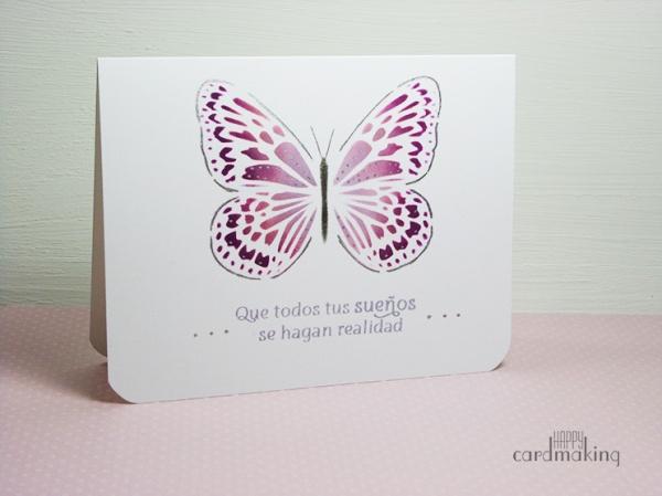 Tarjeta creativa con mariposa de stencil