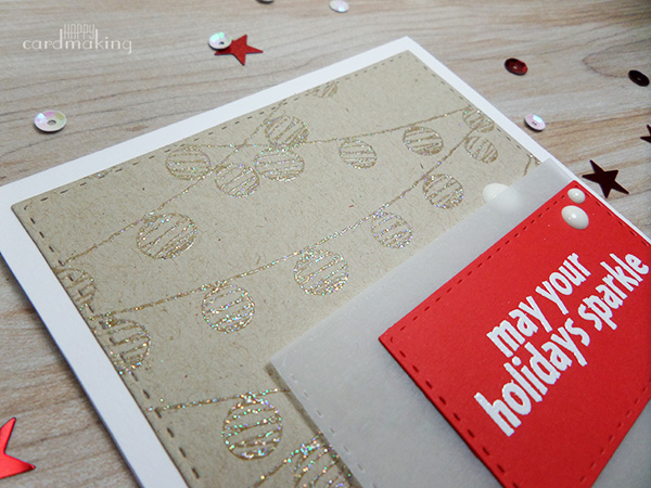 Tarjeta creativa realizada con productos navideños de Hero Arts