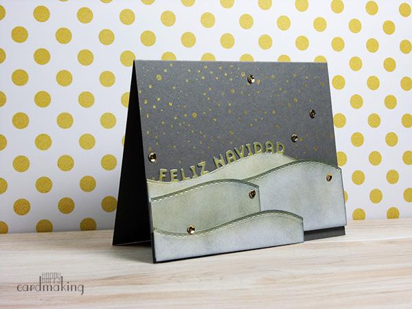 Tarjeta navideña creativa dorada y gris