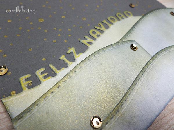 Tarjeta creativa navideña gris y dorada
