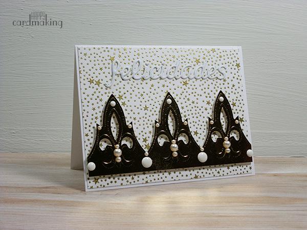 Tarjeta creativa con corona de roscón de reyes