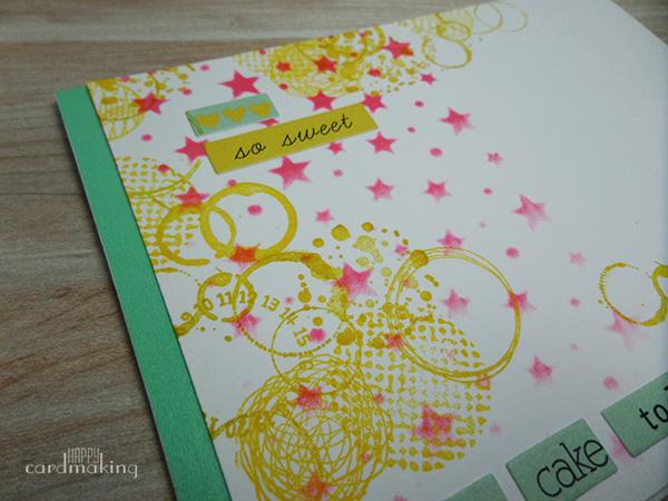 Tarjeta creativa con sellos variados de Aladine