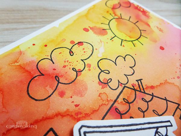 Tarjeta creativa realizada con fondo de tintas Distress