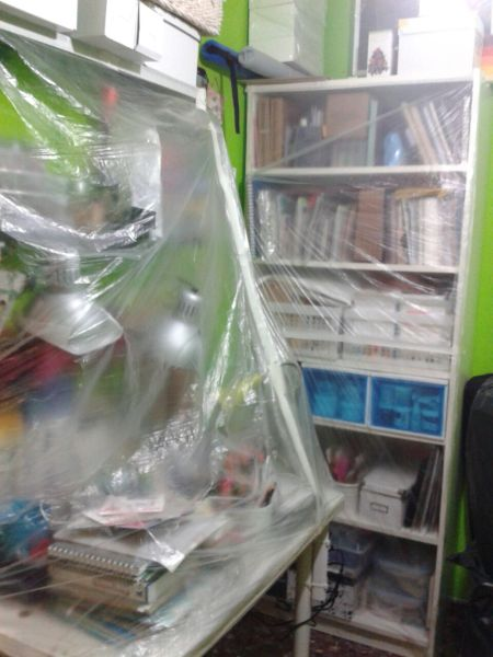 Habitación empaquetada para desinfectar