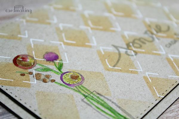 Tarjeta creativa realizada con stencil y rotuladores Zig