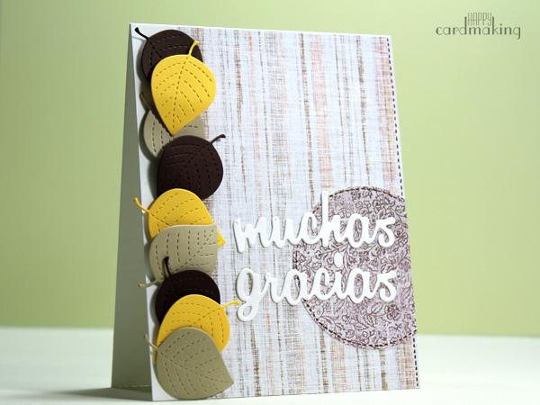 Tarjeta que combina hojas de Lawn Fawn y mensaje de Micaela Ferrero