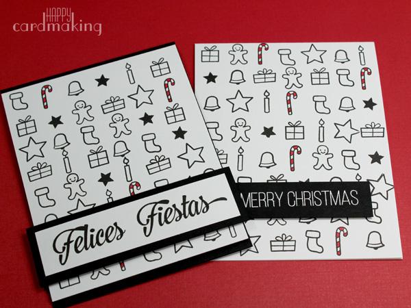 Tarjeta navideña realizada en blanco y negro