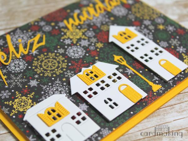 Tarjeta creativa navideña realizada con el troquel Pueblo feliz de La Pareja Creativa