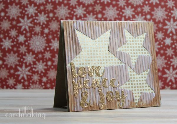 Con un cartón mixed media, estrellas y dorado, nuevas tarjetas creativas.
