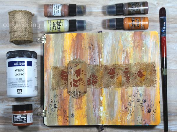 Primera página de art journal buscando un estilo rústico