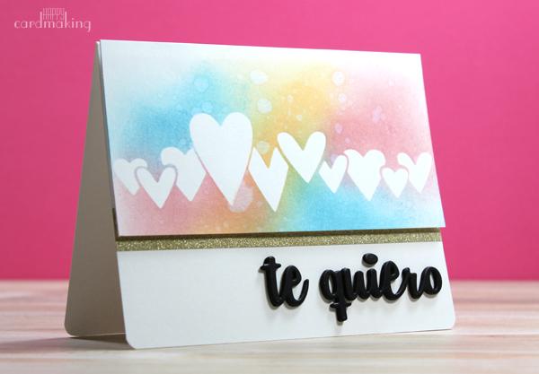 Tarjeta para San Valentín creada con tintas distress