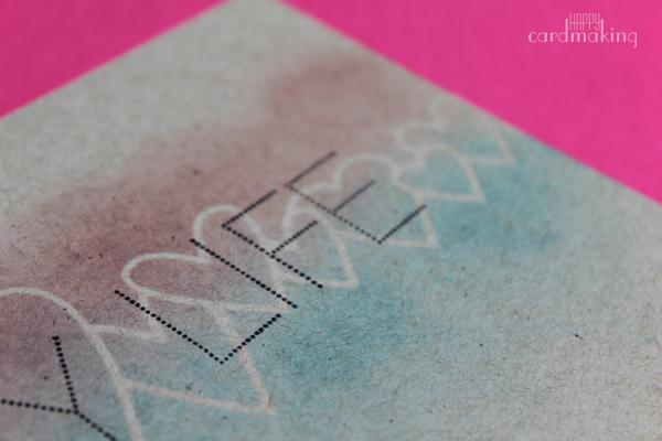 Detalle del blending de las tintas Distress en cartulina Dessert